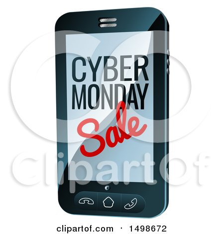 Clipart of a 3d Smart Phone with Cyber Monday Sale Text on the Screen - Royalty Free Vector Illustration by AtStockIllustration