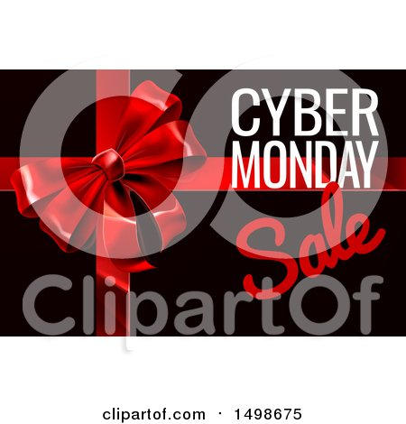 Clipart of a Gift Bow with Cyber Monday Sale Text on Black - Royalty Free Vector Illustration by AtStockIllustration