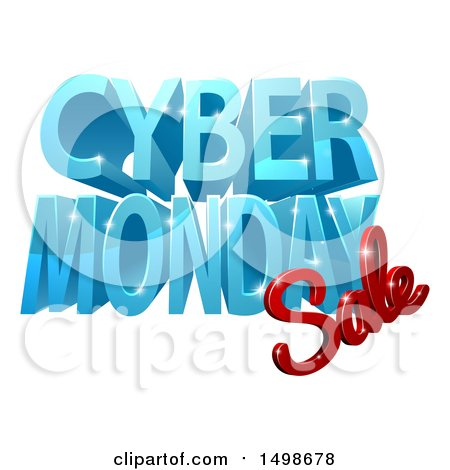Clipart of a 3d Cyber Monday Sale Design in Blue and Red - Royalty Free Vector Illustration by AtStockIllustration