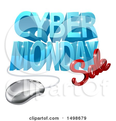 Clipart of a 3d Computer Mouse and Cyber Monday Sale Design in Blue and Red - Royalty Free Vector Illustration by AtStockIllustration