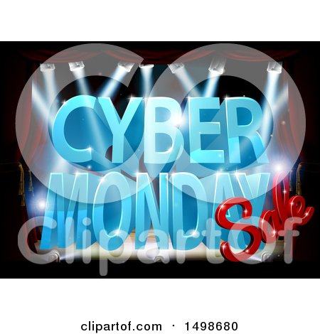 Clipart of a 3d Lit up Stage with a Cyber Monday Sale Design in Blue and Red - Royalty Free Vector Illustration by AtStockIllustration