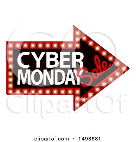 Clipart of a 3d Marquee Sign with Cyber Monday Sale Text - Royalty Free Vector Illustration by AtStockIllustration