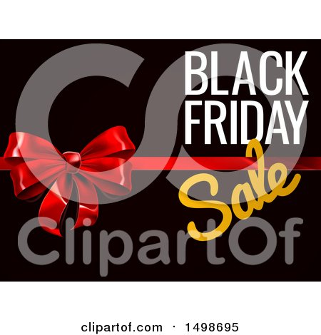 Clipart of a 3d Gift Bow and Black Friday Sale Text on Black - Royalty Free Vector Illustration by AtStockIllustration