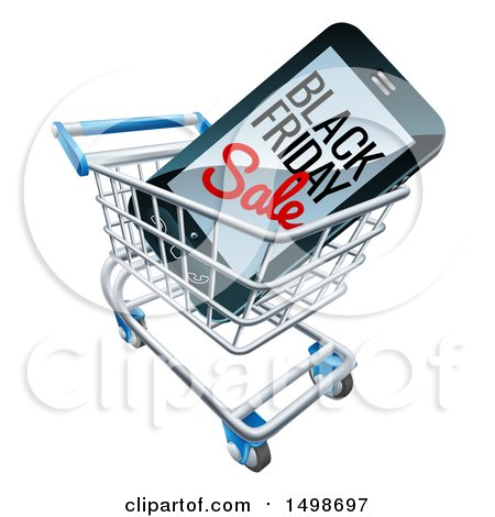 Clipart of a 3d Smart Phone with Black Friday Sale Text on the Screen in a Shopping Cart - Royalty Free Vector Illustration by AtStockIllustration