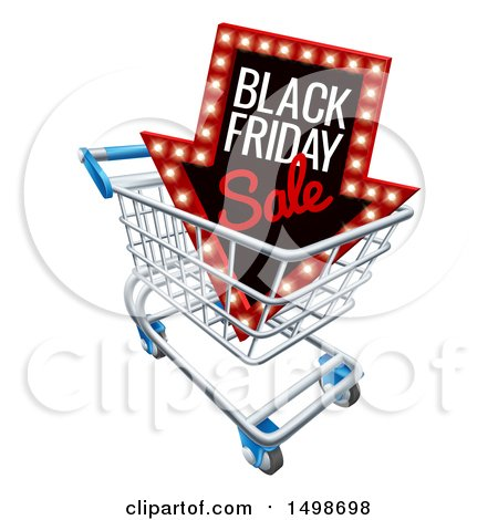 Clipart of a 3d Arrow Marquee Sign with Black Friday Sale Text in a Shopping Cart - Royalty Free Vector Illustration by AtStockIllustration