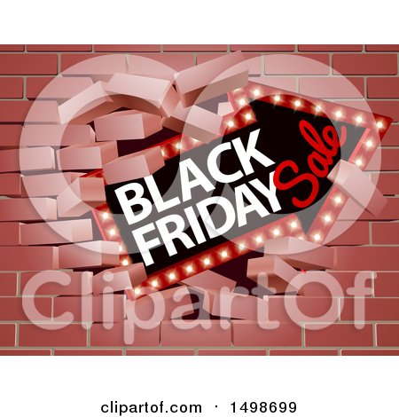 Clipart of a 3d Marquee Arrow Sign with Black Friday Sale Text Breaking Through a Brick Wall - Royalty Free Vector Illustration by AtStockIllustration