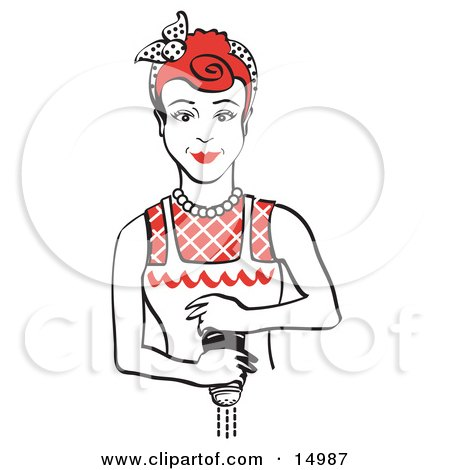 Red Haired Housewife Or Maid Woman Grinding Fresh Pepper While Cooking Clipart Illustration by Andy Nortnik