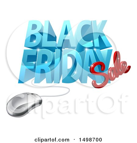 Clipart of a 3d Computer Mouse and Black Friday Sale Design in Blue and Red - Royalty Free Vector Illustration by AtStockIllustration