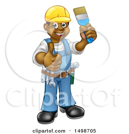 Clipart of a Happy African American Male Painter Holding up a Brush and Giving a Thumb up - Royalty Free Vector Illustration by AtStockIllustration