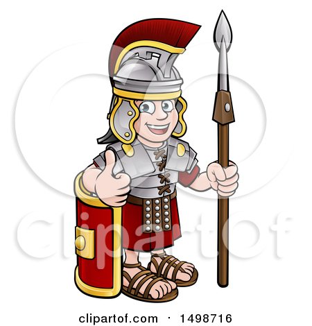 Clipart of a Cartoon Happy Roman Soldier Giving a Thumb Up, Holding a Spear and Leaning on a Shield - Royalty Free Vector Illustration by AtStockIllustration