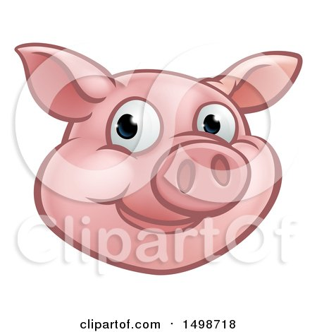 Clipart of a Happy Pig Mascot Face - Royalty Free Vector Illustration by AtStockIllustration