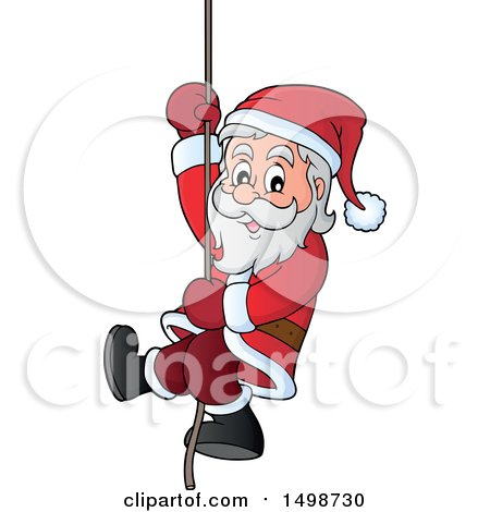 Clipart of a Christmas Santa Claus Climbing a Rope - Royalty Free Vector Illustration by visekart