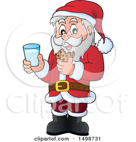 Clipart of a Christmas Santa Claus Enjoying a Snack of Milk and Cookies - Royalty Free Vector Illustration by visekart