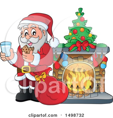 Clipart of a Christmas Santa Claus Enjoying a Snack of Milk and Cookies by a Fireplace - Royalty Free Vector Illustration by visekart