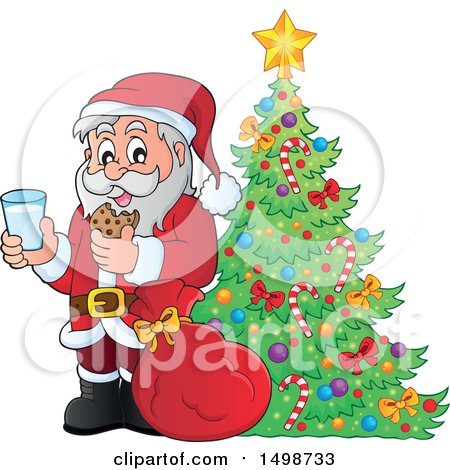 Clipart of a Christmas Santa Claus Enjoying a Snack of Milk and Cookies by a Tree - Royalty Free Vector Illustration by visekart
