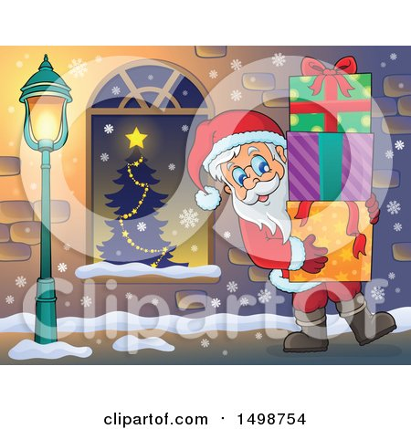 Clipart of a Christmas Santa Claus Carrying Gifts - Royalty Free Vector Illustration by visekart