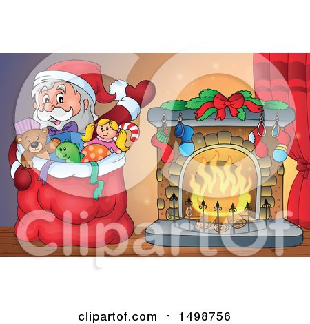 Clipart of a Christmas Santa Claus and Sack by a Fireplace - Royalty Free Vector Illustration by visekart