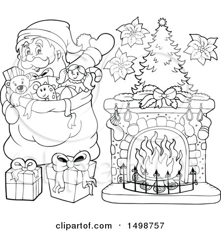 Clipart of a Black and White Christmas Santa Claus with a Sack - Royalty Free Vector Illustration by visekart