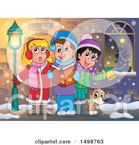 Clipart of a Group of Children Singing Christmas Carols on a Sidewalk - Royalty Free Vector Illustration by visekart