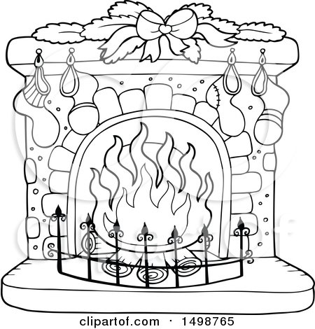 Clipart of a Black and White Fireplace with Christmas Stockings - Royalty Free Vector Illustration by visekart