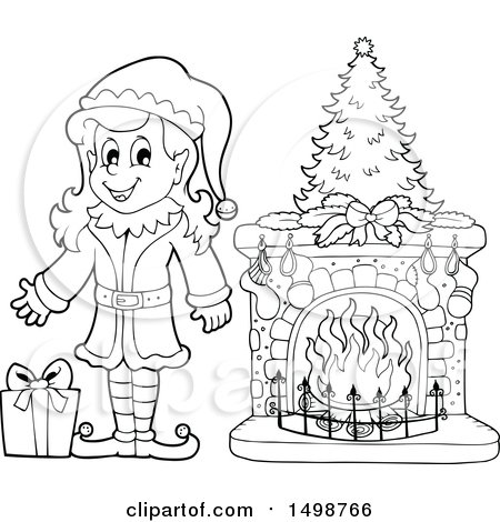 Clipart of a Black and White Female Christmas Elf by a Fireplace - Royalty Free Vector Illustration by visekart
