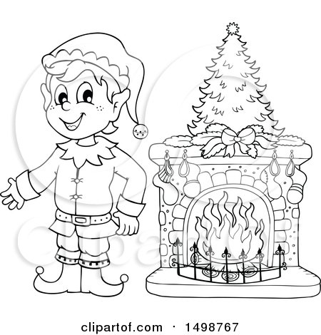Clipart of a Black and White Male Christmas Elf by a Fireplace - Royalty Free Vector Illustration by visekart
