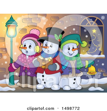Clipart of a Group of Snowmen Singing Christmas Carols on a Sidewalk - Royalty Free Vector Illustration by visekart