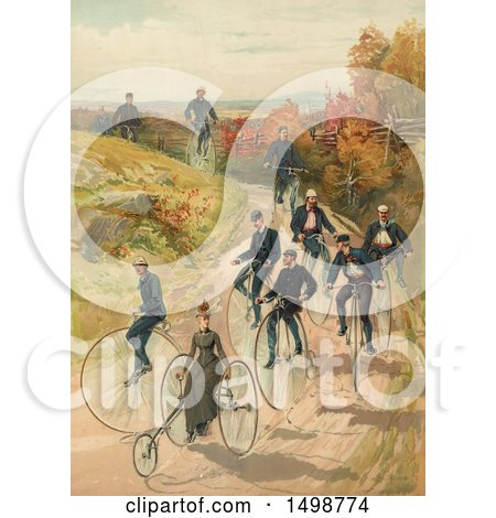 Clipart of a Lady on a Three Wheel Bicycle and Men Riding Penny Farthing High Wheelers on a Path, C1887 - Royalty Free Illustration by JVPD