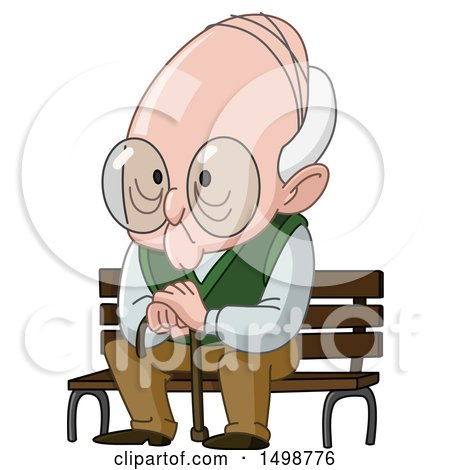 Clipart of a Senior Man Sitting on a Bench - Royalty Free Vector Illustration by yayayoyo