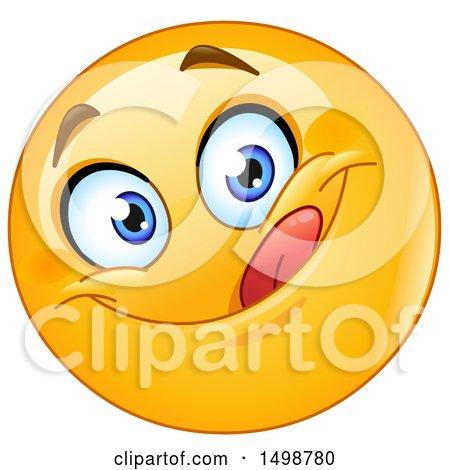 Clipart of a Cartoon Emoji Yellow Smiley Licking His Lips - Royalty Free Vector Illustration by yayayoyo