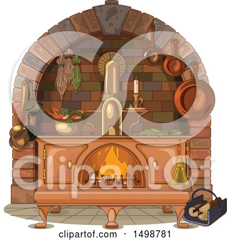 Clipart of an Antique Kitchen Wood Stove - Royalty Free Vector Illustration by Pushkin