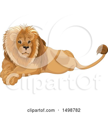 Clipart of a Handsome Resting Male Lion - Royalty Free Vector Illustration by Pushkin