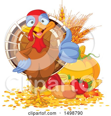 Clipart of a Happy Thanksgiving Turkey Bird Giving a Thumb up by Harvest Produce - Royalty Free Vector Illustration by Pushkin