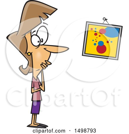 Clipart of a Cartoon Caucasian Woman Looking at a Crooked Painting - Royalty Free Vector Illustration by toonaday