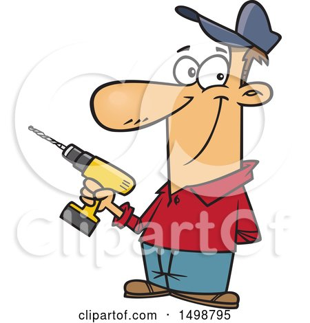 Clipart of a Cartoon Caucasian Handyman Holding a Cordless Drill - Royalty Free Vector Illustration by toonaday