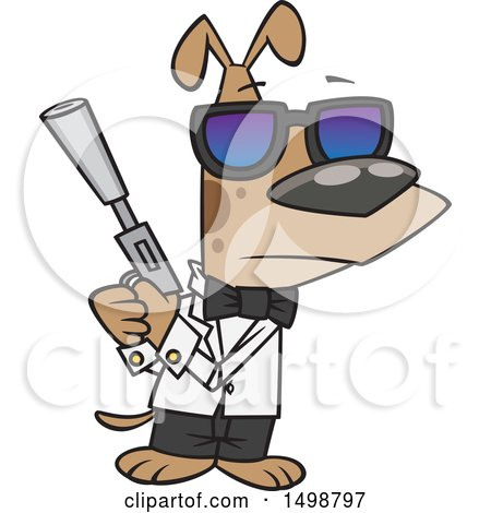 Clipart of a Cartoon Secret Agent Dog Holding a Gun with a Silencer - Royalty Free Vector Illustration by toonaday