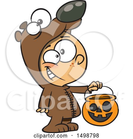 Clipart of a Cartoon Caucasian Boy in a Bear Halloween Costume, Holding out a Trick or Treat Pumpkin Bucket - Royalty Free Vector Illustration by toonaday