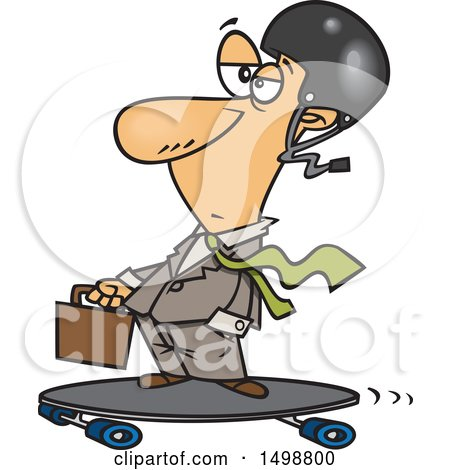 Clipart of a Cartoon Caucasian Business Man on a Longboard - Royalty Free Vector Illustration by toonaday