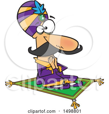 Clipart of a Cartoon Indian Maharaja on a Carpet - Royalty Free Vector Illustration by toonaday
