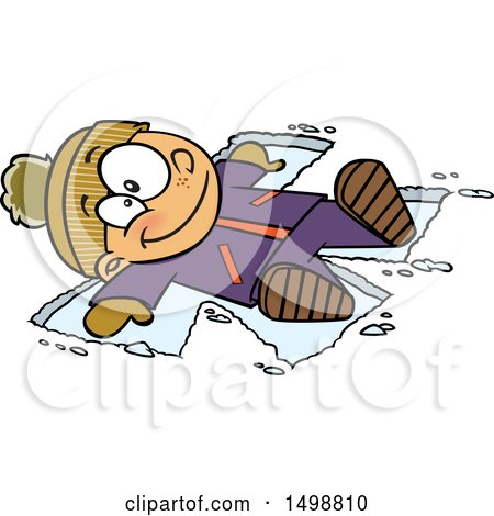 Clipart of a Cartoon Happy Caucasian Boy Making a Snow Angel - Royalty Free Vector Illustration by toonaday