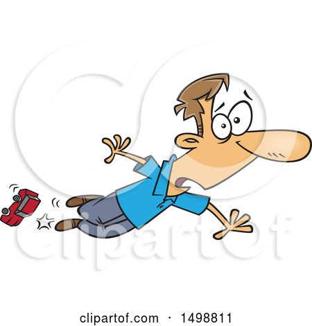 Clipart of a Cartoon Caucasian Dad Tripping over a Toy Car - Royalty Free Vector Illustration by toonaday