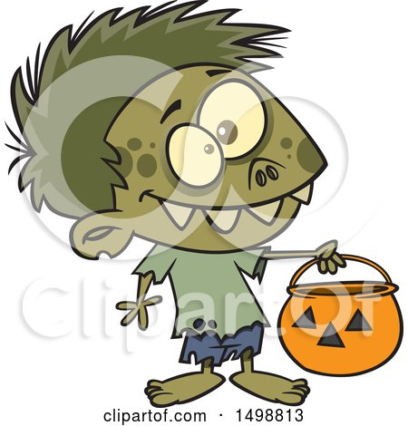 Clipart of a Cartoon Zombie Boy in a Bear Halloween Costume, Holding out a Trick or Treat Pumpkin Bucket - Royalty Free Vector Illustration by toonaday