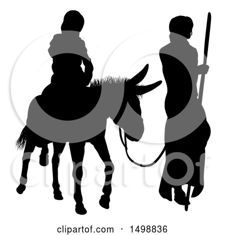 Clipart of a Black Silhouetted Virgin Mary on a Donkey and Joseph - Royalty Free Vector Illustration by AtStockIllustration