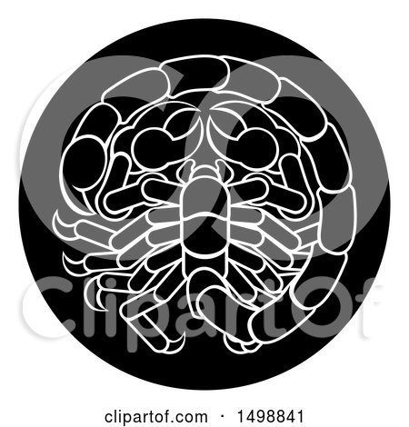 Clipart of a Zodiac Horoscope Astrology Scorpio Circle Design in Black and White - Royalty Free Vector Illustration by AtStockIllustration