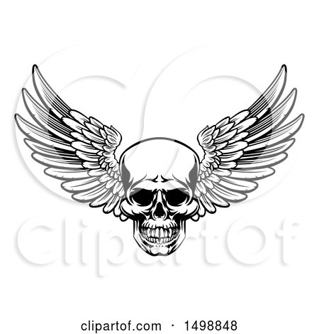 Clipart of a Black and White Winged Skull - Royalty Free Vector Illustration by AtStockIllustration