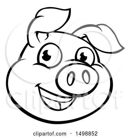 Clipart of a Black and White Happy Pig Face - Royalty Free Vector Illustration by AtStockIllustration