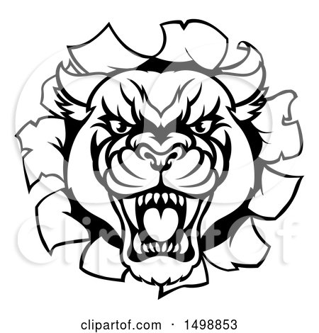 Clipart of a Black and White Roaring Panther Mascot Breaking Through a Wall - Royalty Free Vector Illustration by AtStockIllustration