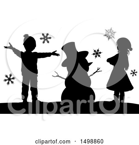 Clipart of a Silhouetted Christmas Snowman with Children - Royalty Free Vector Illustration by AtStockIllustration