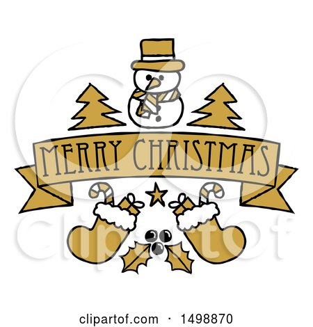 Clipart of a Merry Christmas Banner with Holly Stockings Trees and a Snowman - Royalty Free Vector Illustration by AtStockIllustration