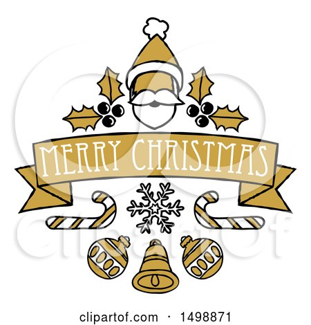 Clipart of a Merry Christmas Banner with Santa, Holly, Candy Canes and Baubles - Royalty Free Vector Illustration by AtStockIllustration